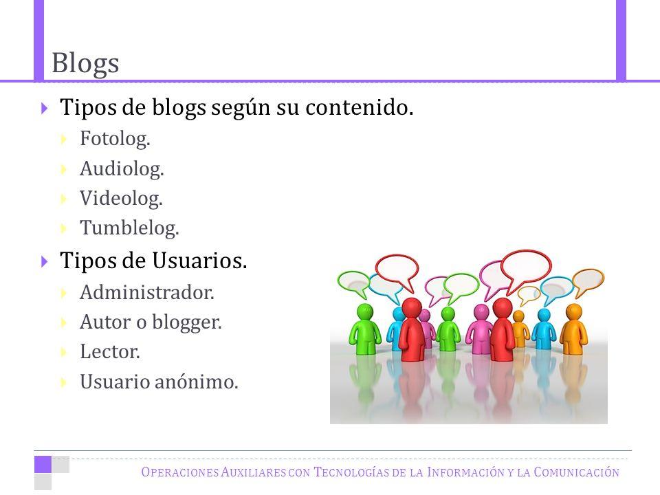 Blogs O PERACIONES A UXILIARES CON T ECNOLOGÍAS DE LA I NFORMACIÓN Y LA C OMUNICACIÓN Tipos de blogs según su contenido.