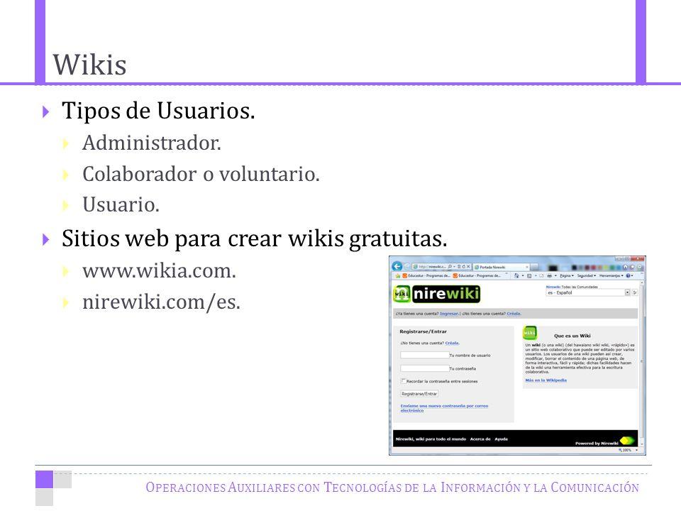 Wikis O PERACIONES A UXILIARES CON T ECNOLOGÍAS DE LA I NFORMACIÓN Y LA C OMUNICACIÓN Tipos de Usuarios.