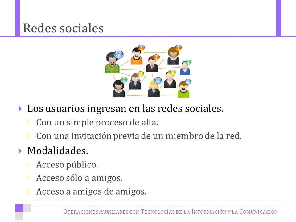 Redes sociales O PERACIONES A UXILIARES CON T ECNOLOGÍAS DE LA I NFORMACIÓN Y LA C OMUNICACIÓN Los usuarios ingresan en las redes sociales.