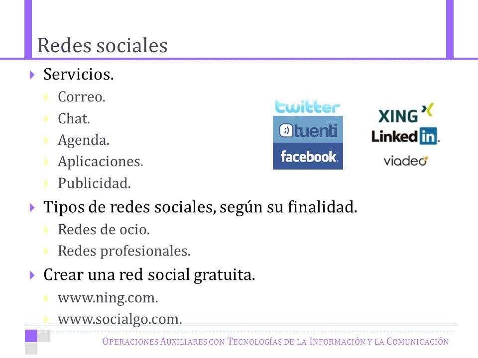Redes sociales O PERACIONES A UXILIARES CON T ECNOLOGÍAS DE LA I NFORMACIÓN Y LA C OMUNICACIÓN Servicios.