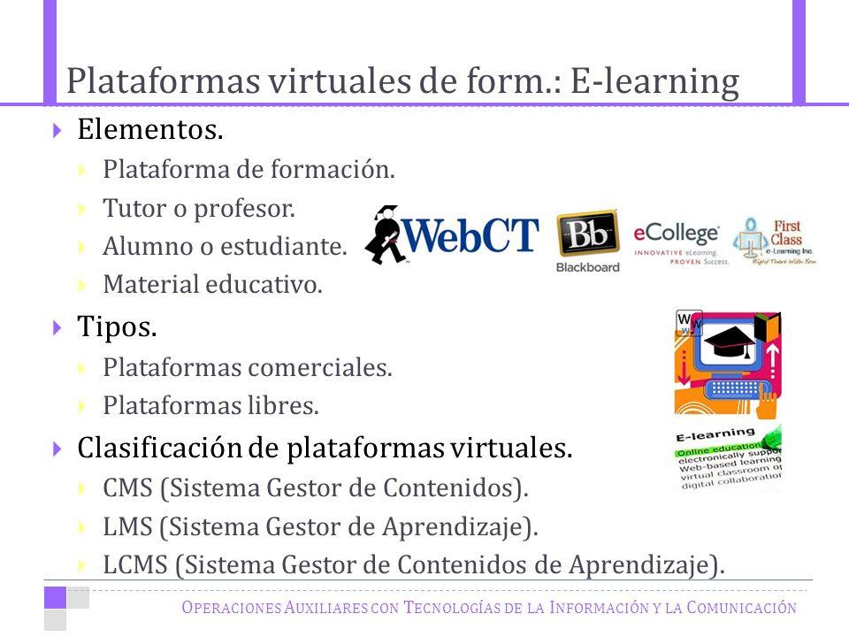 Plataformas virtuales de form.: E-learning O PERACIONES A UXILIARES CON T ECNOLOGÍAS DE LA I NFORMACIÓN Y LA C OMUNICACIÓN Elementos.