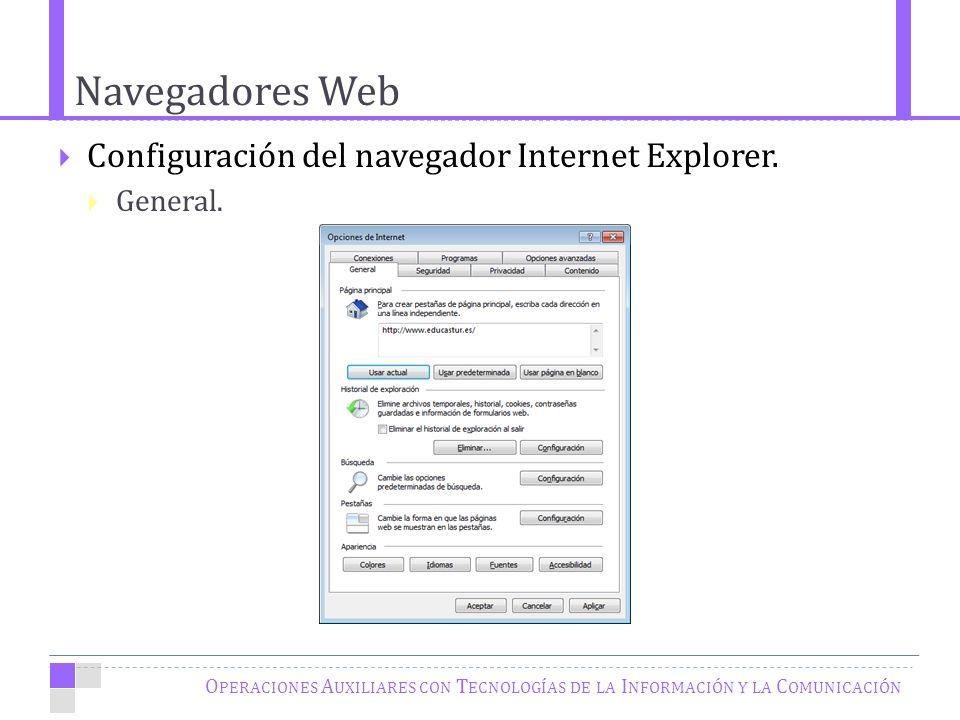 Navegadores Web O PERACIONES A UXILIARES CON T ECNOLOGÍAS DE LA I NFORMACIÓN Y LA C OMUNICACIÓN Configuración del navegador Internet Explorer.