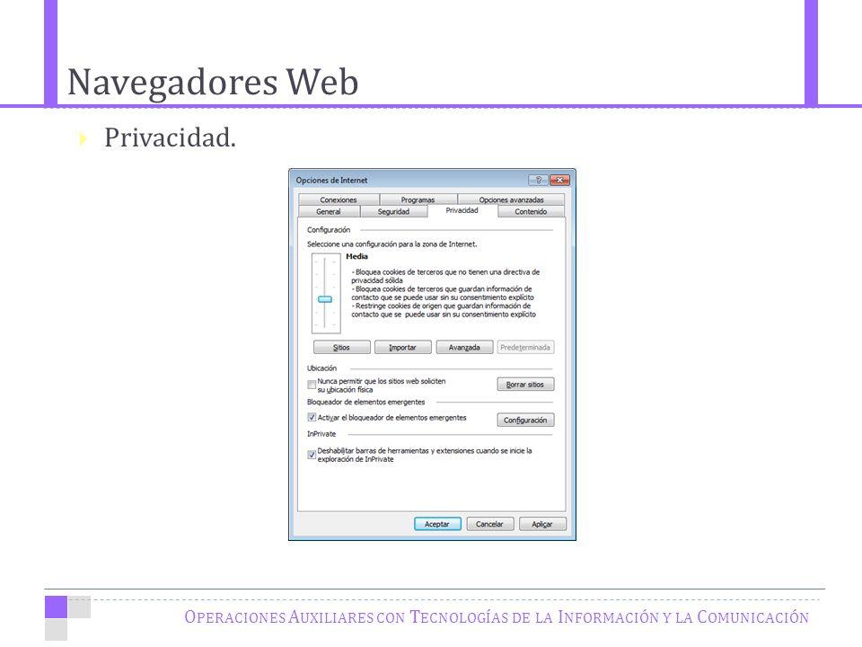 Navegadores Web O PERACIONES A UXILIARES CON T ECNOLOGÍAS DE LA I NFORMACIÓN Y LA C OMUNICACIÓN Privacidad.