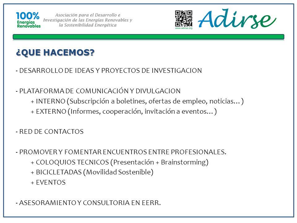 ¿QUE HACEMOS? - DESARROLLO DE IDEAS Y PROYECTOS DE INVESTIGACION - PLATAFORMA DE COMUNICACIÓN Y DIVULGACION + INTERNO (Subscripción a boletines, ofert