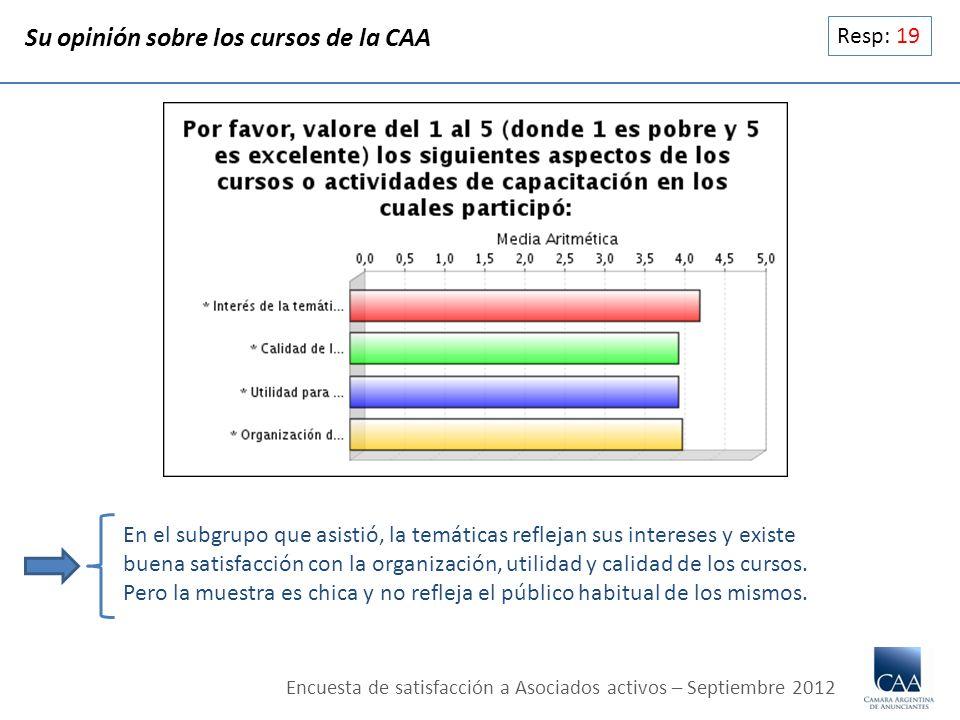 Resp: 19 Su opinión sobre los cursos de la CAA En el subgrupo que asistió, la temáticas reflejan sus intereses y existe buena satisfacción con la orga