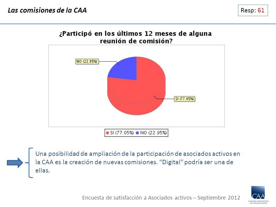 Resp: 61 Las comisiones de la CAA Una posibilidad de ampliación de la participación de asociados activos en la CAA es la creación de nuevas comisiones