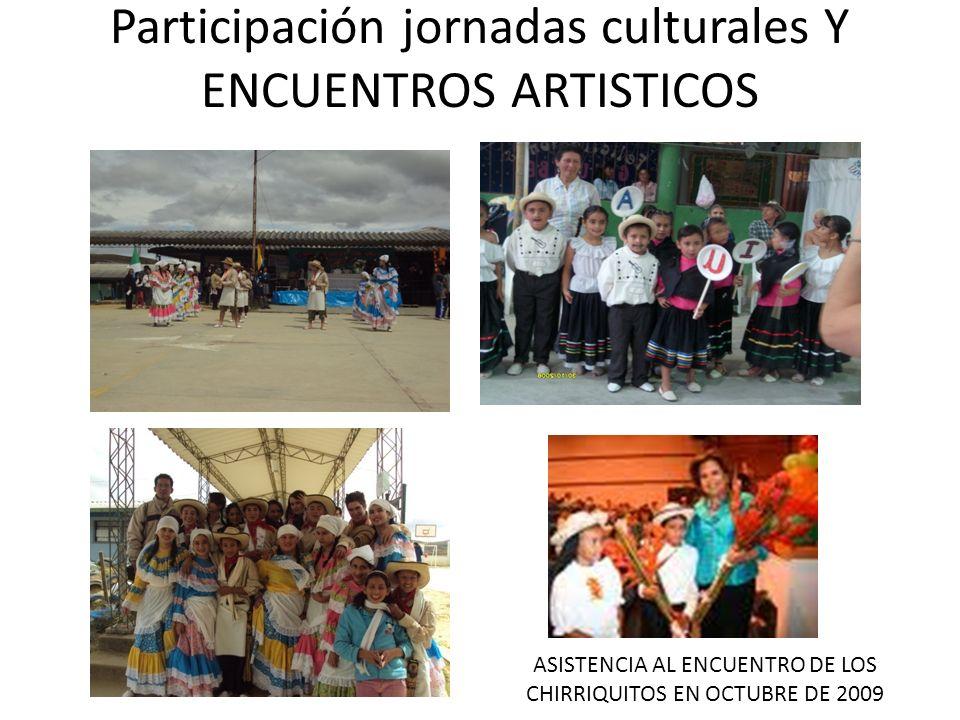 Participación jornadas culturales Y ENCUENTROS ARTISTICOS ASISTENCIA AL ENCUENTRO DE LOS CHIRRIQUITOS EN OCTUBRE DE 2009