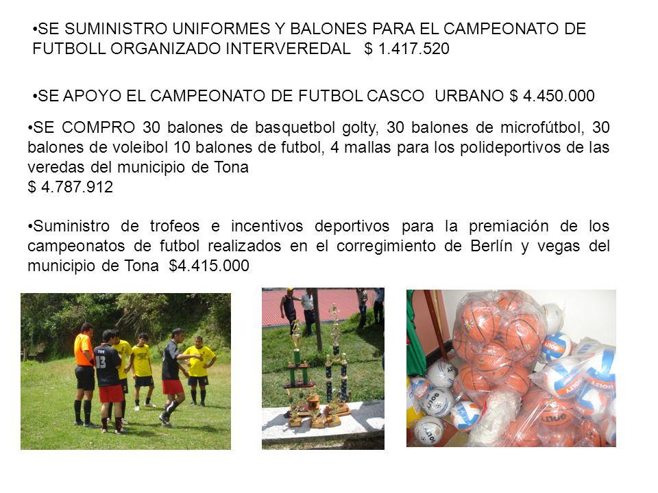 SE SUMINISTRO UNIFORMES Y BALONES PARA EL CAMPEONATO DE FUTBOLL ORGANIZADO INTERVEREDAL $ 1.417.520 SE APOYO EL CAMPEONATO DE FUTBOL CASCO URBANO $ 4.