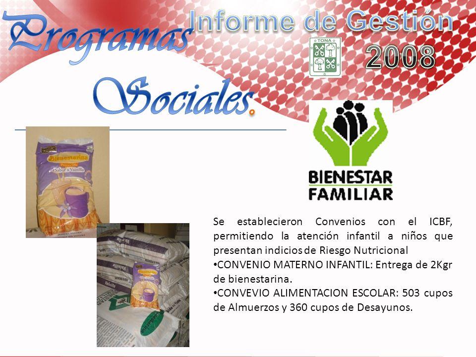 Se establecieron Convenios con el ICBF, permitiendo la atención infantil a niños que presentan indicios de Riesgo Nutricional CONVENIO MATERNO INFANTI