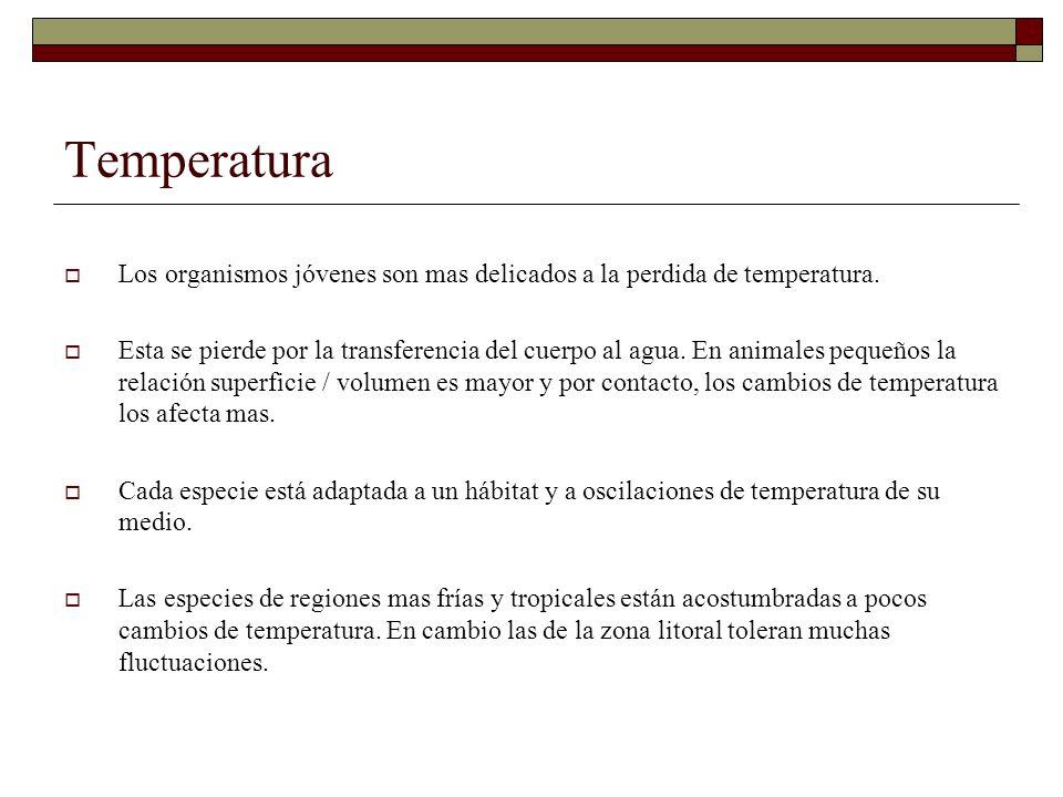 Temperatura Los organismos jóvenes son mas delicados a la perdida de temperatura. Esta se pierde por la transferencia del cuerpo al agua. En animales