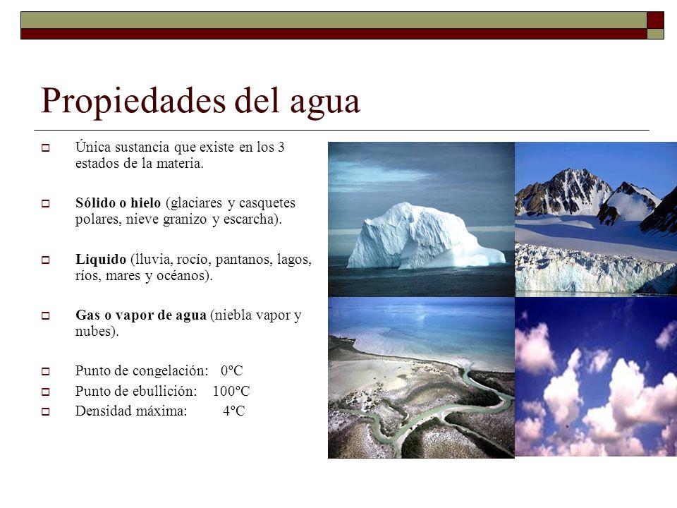 Propiedades del agua Única sustancia que existe en los 3 estados de la materia. Sólido o hielo (glaciares y casquetes polares, nieve granizo y escarch