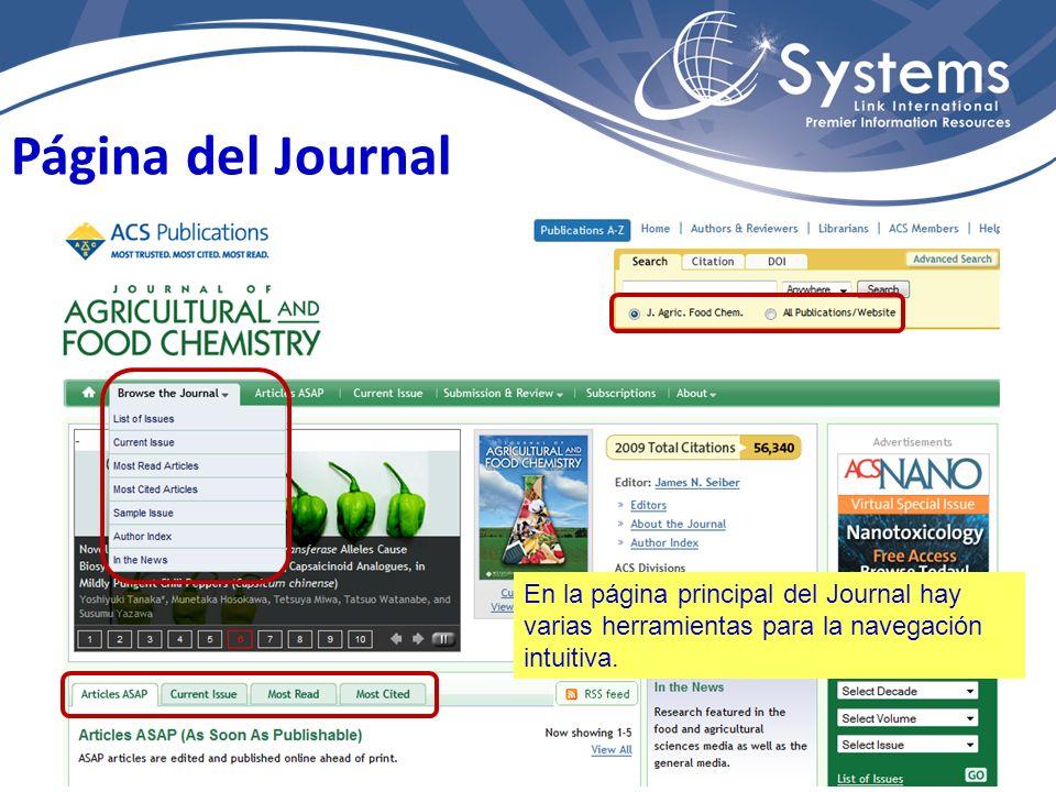 Página del Journal En la página principal del Journal hay varias herramientas para la navegación intuitiva.