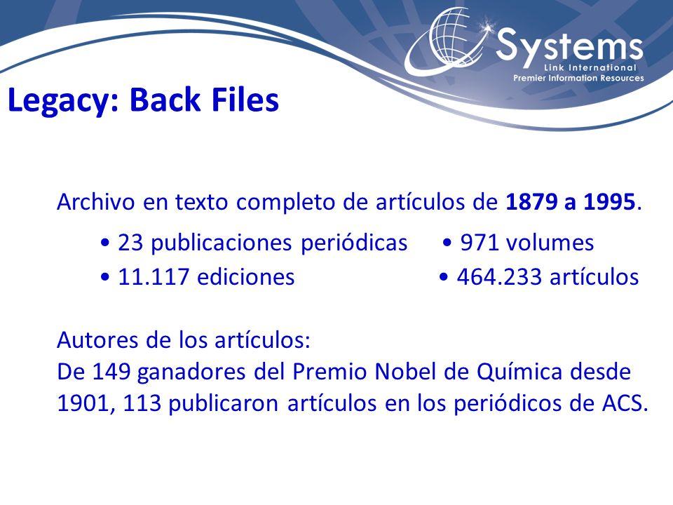 Archivo en texto completo de artículos de 1879 a 1995. 23 publicaciones periódicas 971 volumes 11.117 ediciones 464.233 artículos Autores de los artíc