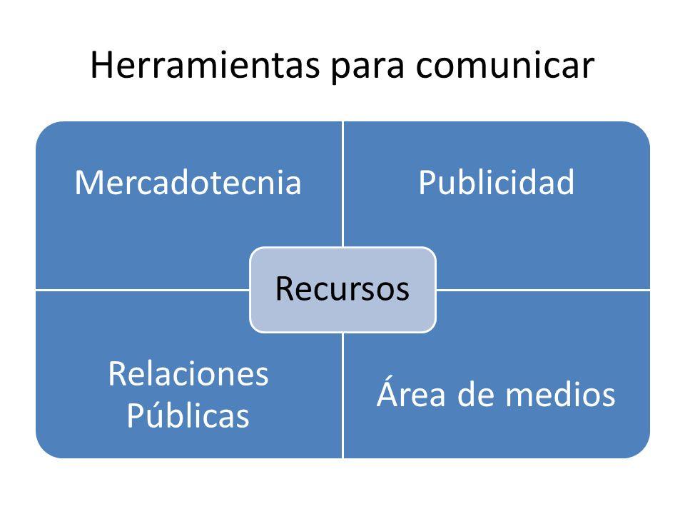 La comunicación se puede dar utilizando distintas recursos Por un lado tenemos los medios (TV, radio, revistas, periódicos, blogs, redes sociales y páginas web) Y por otro las relaciones públicas.