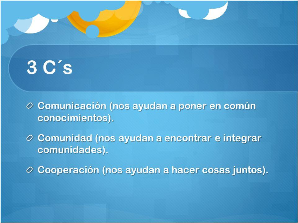 3 C´s Comunicación (nos ayudan a poner en común conocimientos).