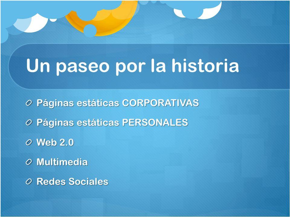 Un paseo por la historia Páginas estáticas CORPORATIVAS Páginas estáticas PERSONALES Web 2.0 Multimedia Redes Sociales
