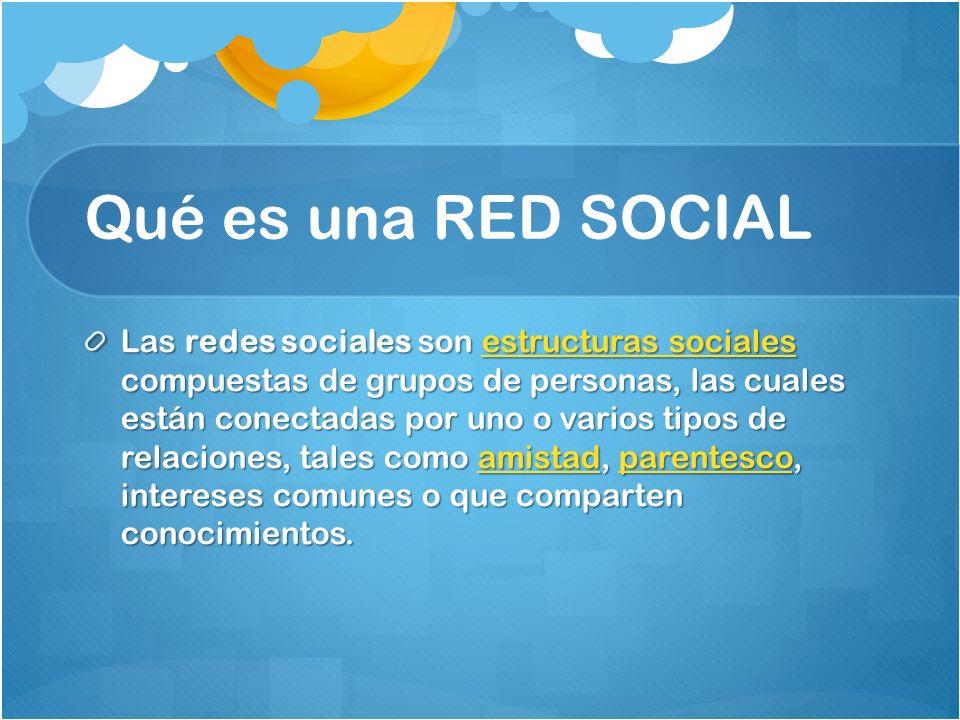 Qué es una RED SOCIAL Las redes sociales son estructuras sociales compuestas de grupos de personas, las cuales están conectadas por uno o varios tipos de relaciones, tales como amistad, parentesco, intereses comunes o que comparten conocimientos.