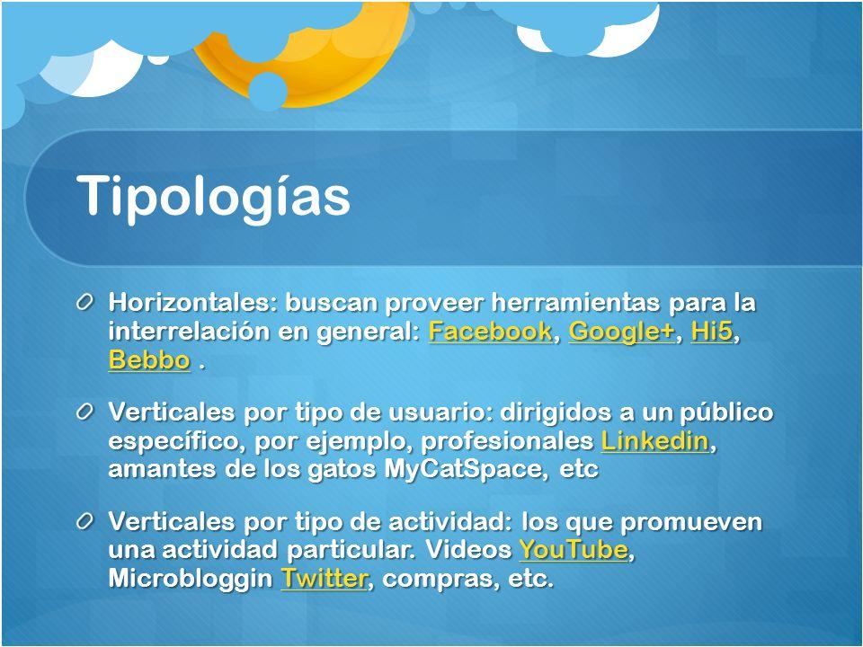 Tipologías Horizontales: buscan proveer herramientas para la interrelación en general: Facebook, Google+, Hi5, Bebbo.