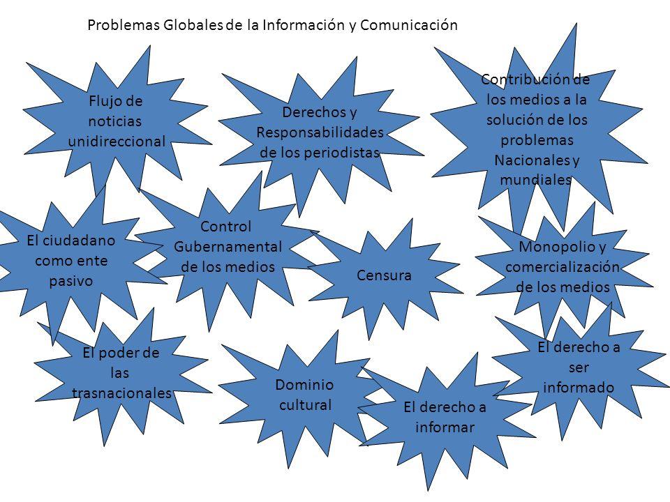 Problemas Globales de la Información y Comunicación Derechos y Responsabilidades de los periodistas Flujo de noticias unidireccional Control Gubername
