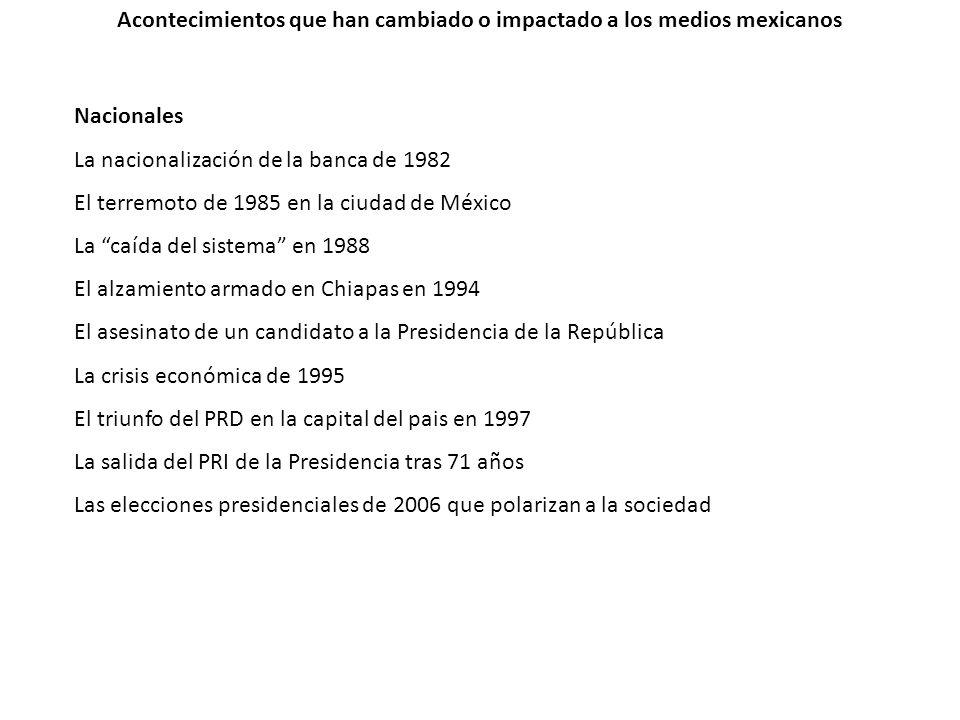 Acontecimientos que han cambiado o impactado a los medios mexicanos Nacionales La nacionalización de la banca de 1982 El terremoto de 1985 en la ciuda