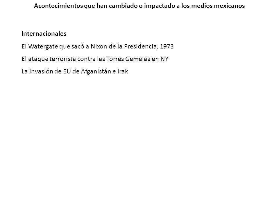 Acontecimientos que han cambiado o impactado a los medios mexicanos Internacionales El Watergate que sacó a Nixon de la Presidencia, 1973 El ataque te