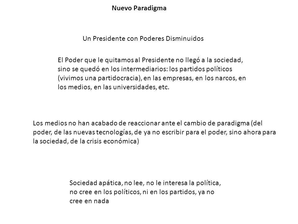 Nuevo Paradigma Un Presidente con Poderes Disminuidos El Poder que le quitamos al Presidente no llegó a la sociedad, sino se quedó en los intermediari