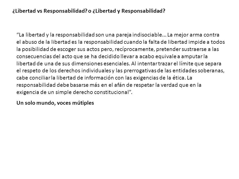 ¿Libertad vs Responsabilidad? o ¿Libertad y Responsabilidad? La libertad y la responsabilidad son una pareja indisociable... La mejor arma contra el a