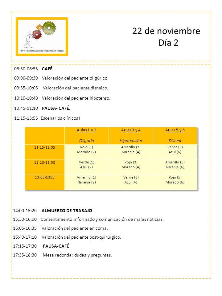 08:30-08:55 CAFÉ 09:00-09:30 Valoración del paciente oligúrico. 09:35-10:05 Valoración del paciente disneico. 10:10-10:40 Valoración del paciente hipo