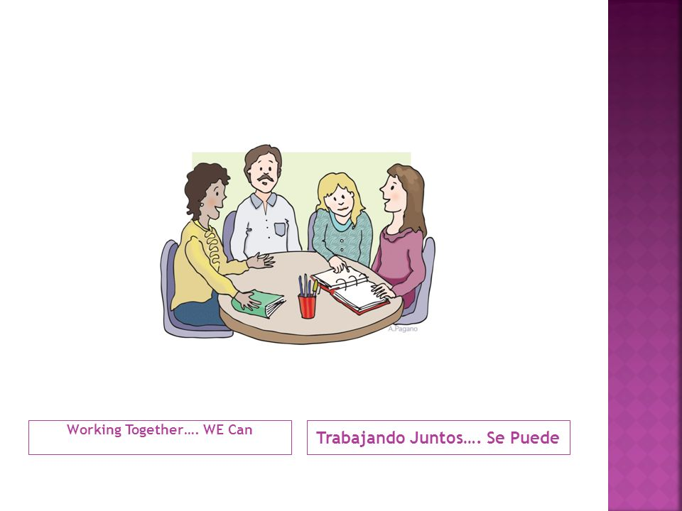Working Together…. WE Can Trabajando Juntos…. Se Puede