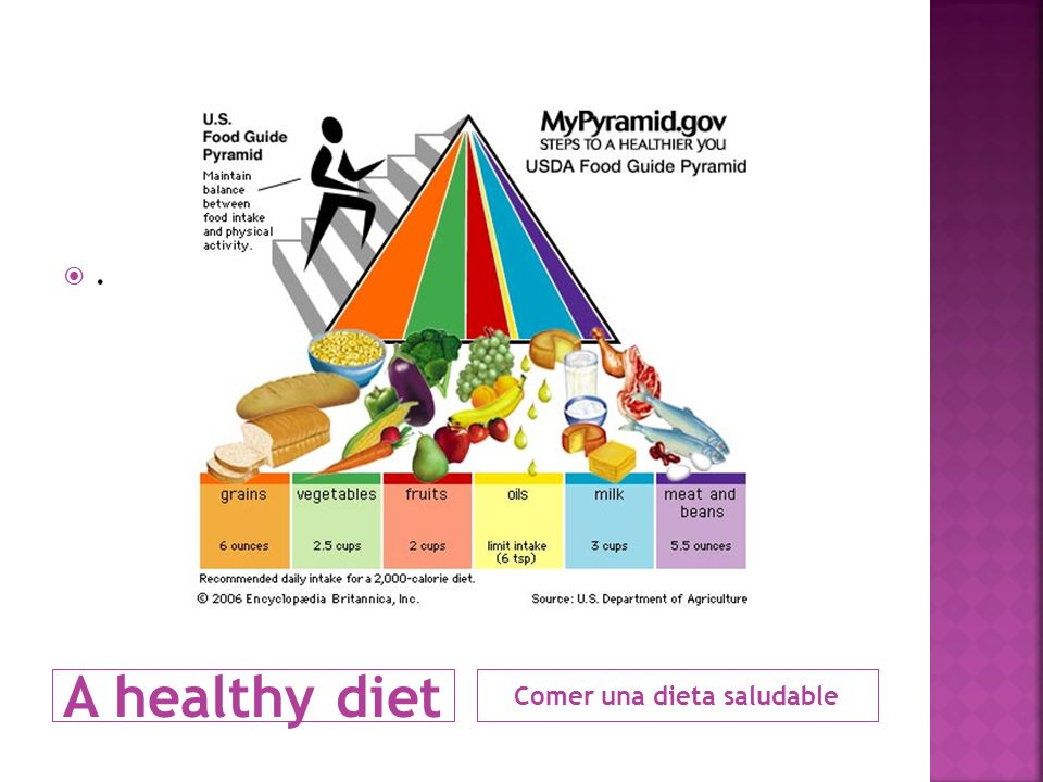 A healthy diet. Comer una dieta saludable