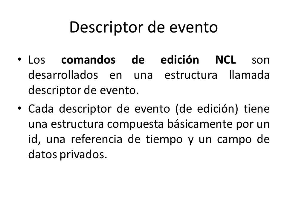Descriptor de evento Los comandos de edición NCL son desarrollados en una estructura llamada descriptor de evento.