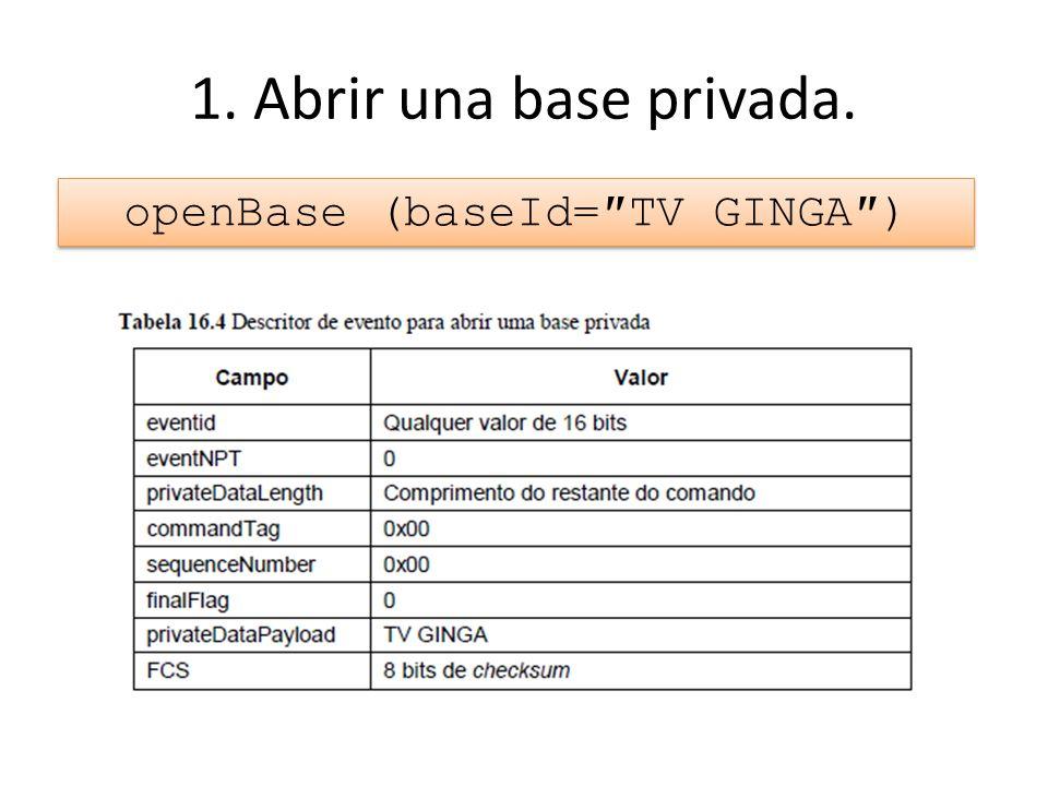 1. Abrir una base privada. openBase (baseId=TV GINGA)