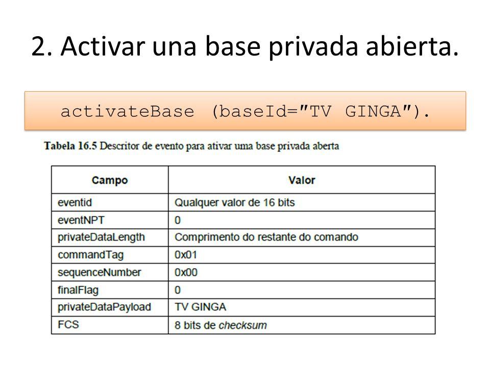 2. Activar una base privada abierta. activateBase (baseId=TV GINGA).