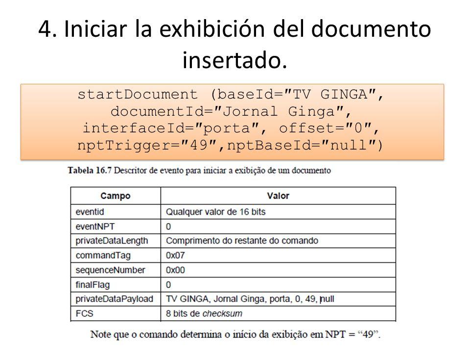 4.Iniciar la exhibición del documento insertado.