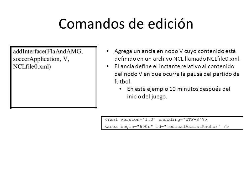 Agrega un ancla en nodo V cuyo contenido está definido en un archivo NCL llamado NCLfile0.xml.