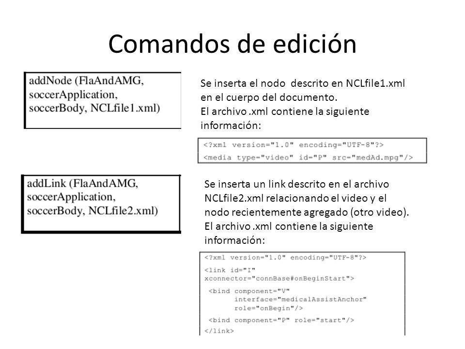 Comandos de edición Se inserta el nodo descrito en NCLfile1.xml en el cuerpo del documento.
