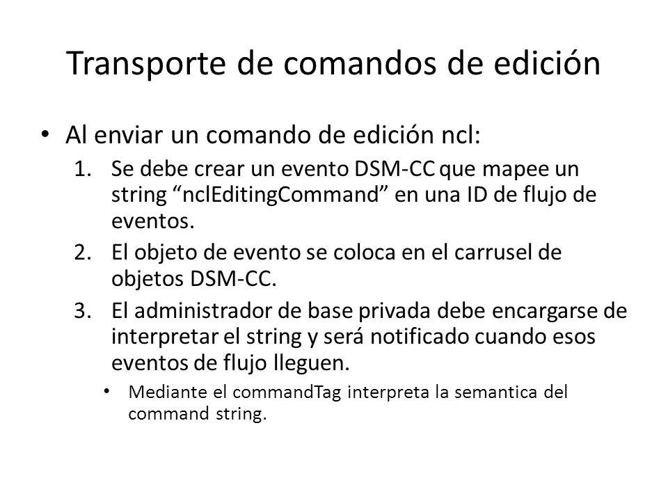 Transporte de comandos de edición Al enviar un comando de edición ncl: 1.Se debe crear un evento DSM-CC que mapee un string nclEditingCommand en una ID de flujo de eventos.