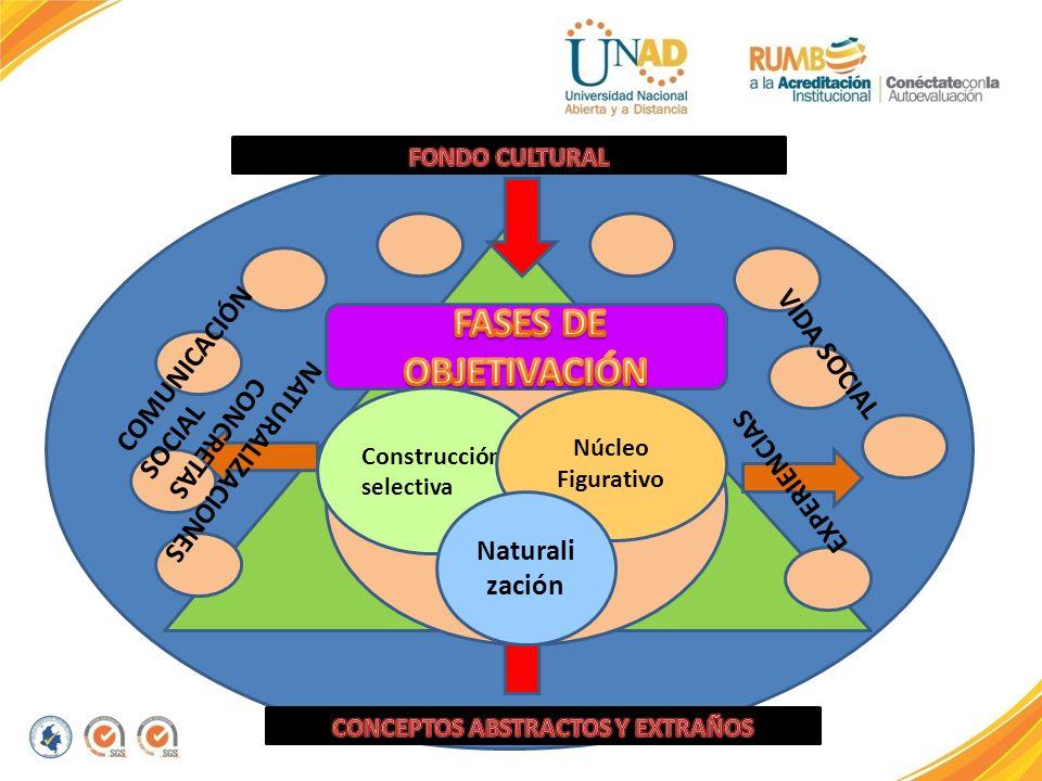 NATURALIZACIONES CONCRETAS EXPERIENCIAS Construcción selectiva Núcleo Figurativo Naturali zación COMUNICACIÓN SOCIAL VIDA SOCIAL