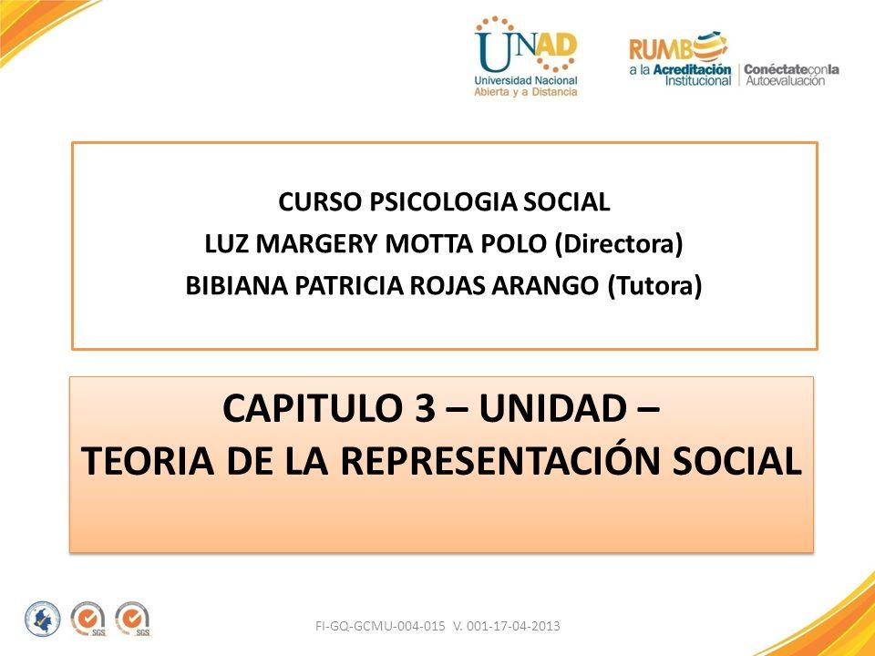 CAPITULO 3 – UNIDAD – TEORIA DE LA REPRESENTACIÓN SOCIAL CURSO PSICOLOGIA SOCIAL LUZ MARGERY MOTTA POLO (Directora) BIBIANA PATRICIA ROJAS ARANGO (Tut
