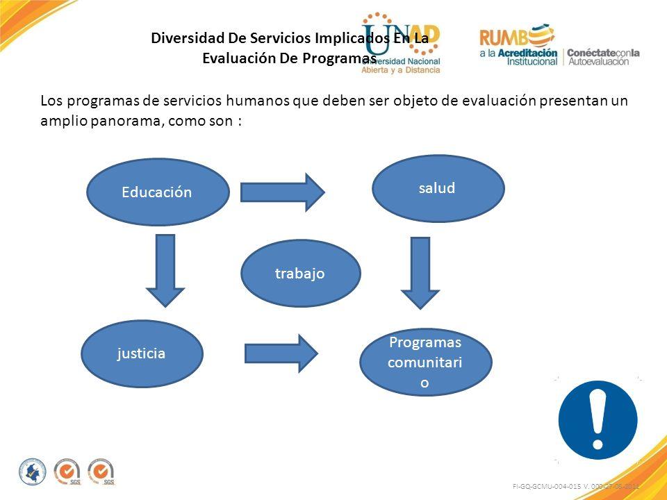 FI-GQ-GCMU-004-015 V. 000-27-08-2011 Diversidad De Servicios Implicados En La Evaluación De Programas Los programas de servicios humanos que deben ser