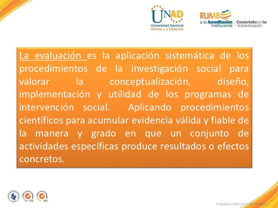 FI-GQ-GCMU-004-015 V. 000-27-08-2011 La evaluación es la aplicación sistemática de los procedimientos de la investigación social para valorar la conce