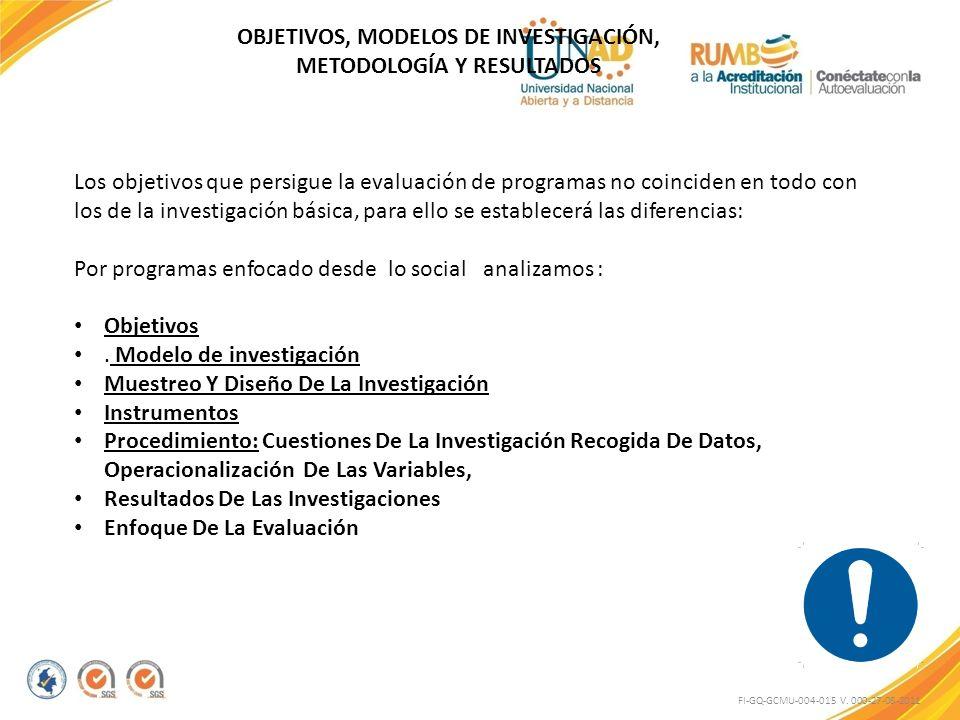 FI-GQ-GCMU-004-015 V. 000-27-08-2011 Los objetivos que persigue la evaluación de programas no coinciden en todo con los de la investigación básica, pa