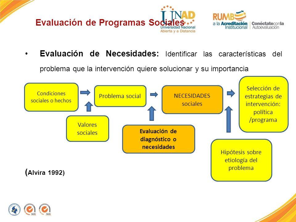 Evaluación de Programas Sociales Evaluación de Necesidades: Identificar las características del problema que la intervención quiere solucionar y su im