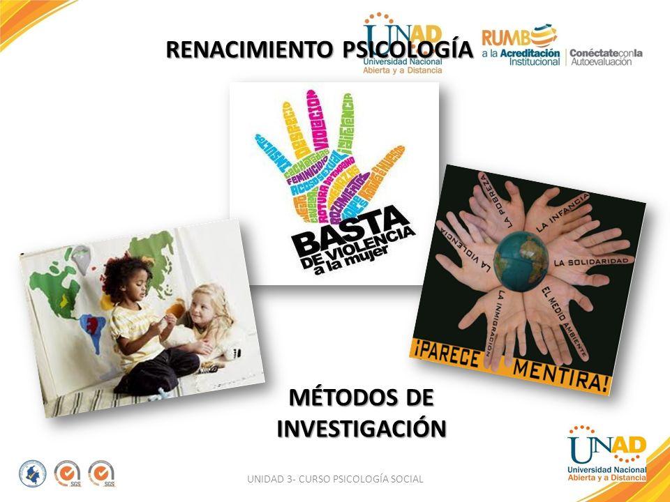 UNIDAD 3- CURSO PSICOLOGÍA SOCIAL RENACIMIENTO PSICOLOGÍA MÉTODOS DE INVESTIGACIÓN