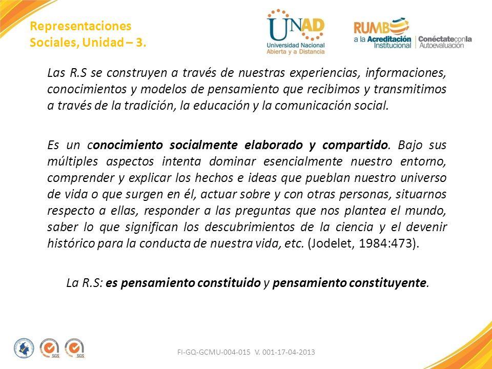 Representaciones Sociales, Unidad – 3. Las R.S se construyen a través de nuestras experiencias, informaciones, conocimientos y modelos de pensamiento