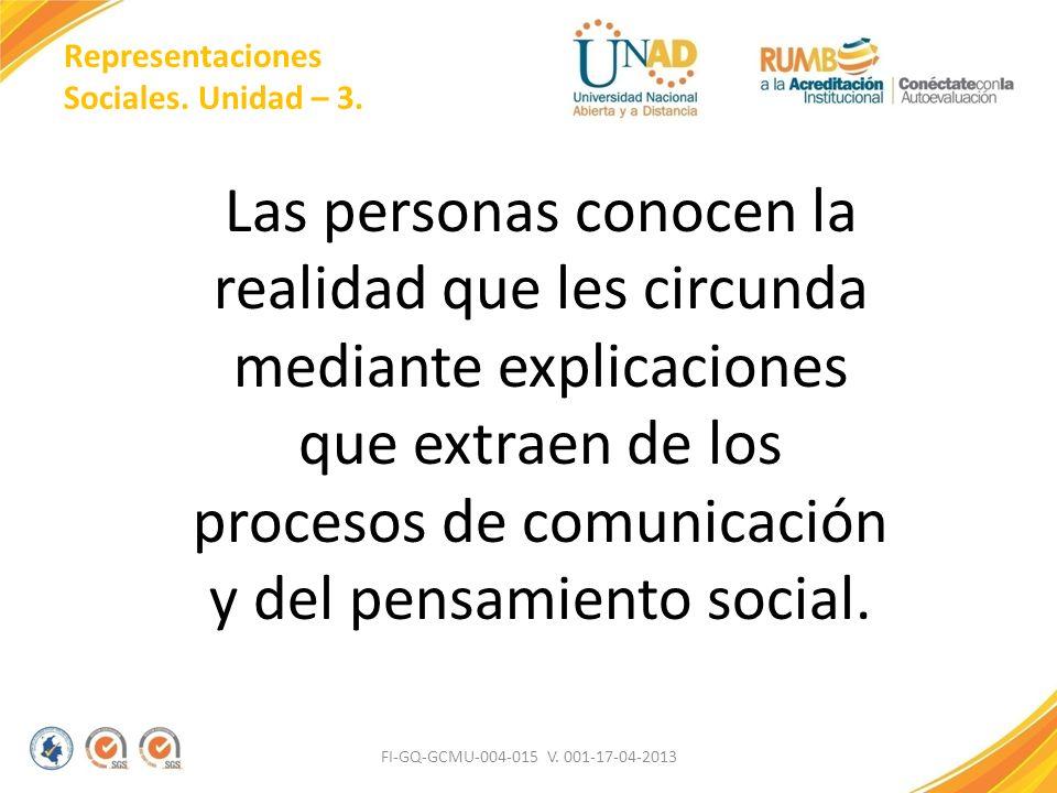 Representaciones Sociales. Unidad – 3. Las personas conocen la realidad que les circunda mediante explicaciones que extraen de los procesos de comunic