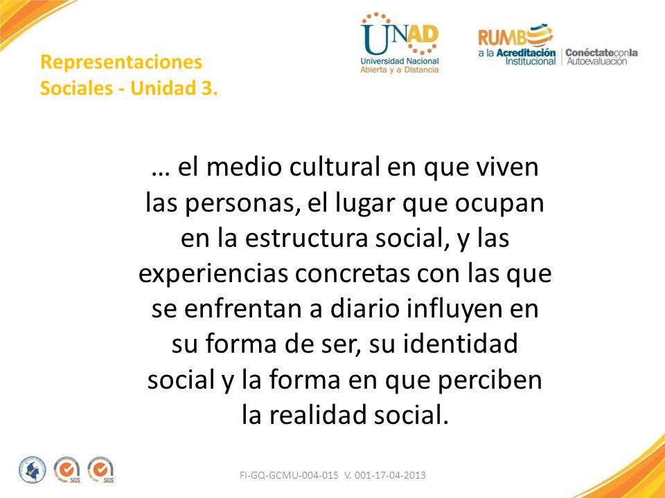Representaciones Sociales - Unidad 3. … el medio cultural en que viven las personas, el lugar que ocupan en la estructura social, y las experiencias c