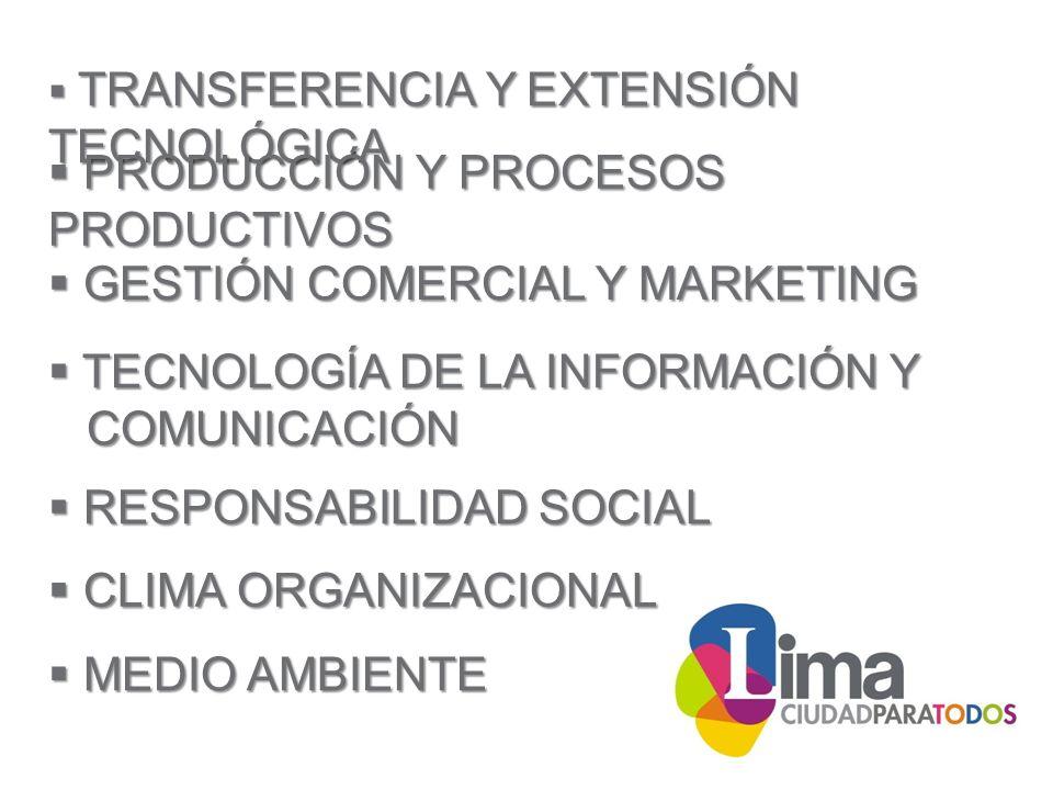 TRANSFERENCIA Y EXTENSIÓN TECNOLÓGICA TRANSFERENCIA Y EXTENSIÓN TECNOLÓGICA PRODUCCIÓN Y PROCESOS PRODUCTIVOS PRODUCCIÓN Y PROCESOS PRODUCTIVOS GESTIÓN COMERCIAL Y MARKETING GESTIÓN COMERCIAL Y MARKETING TECNOLOGÍA DE LA INFORMACIÓN Y TECNOLOGÍA DE LA INFORMACIÓN Y COMUNICACIÓN COMUNICACIÓN RESPONSABILIDAD SOCIAL RESPONSABILIDAD SOCIAL CLIMA ORGANIZACIONAL CLIMA ORGANIZACIONAL MEDIO AMBIENTE MEDIO AMBIENTE