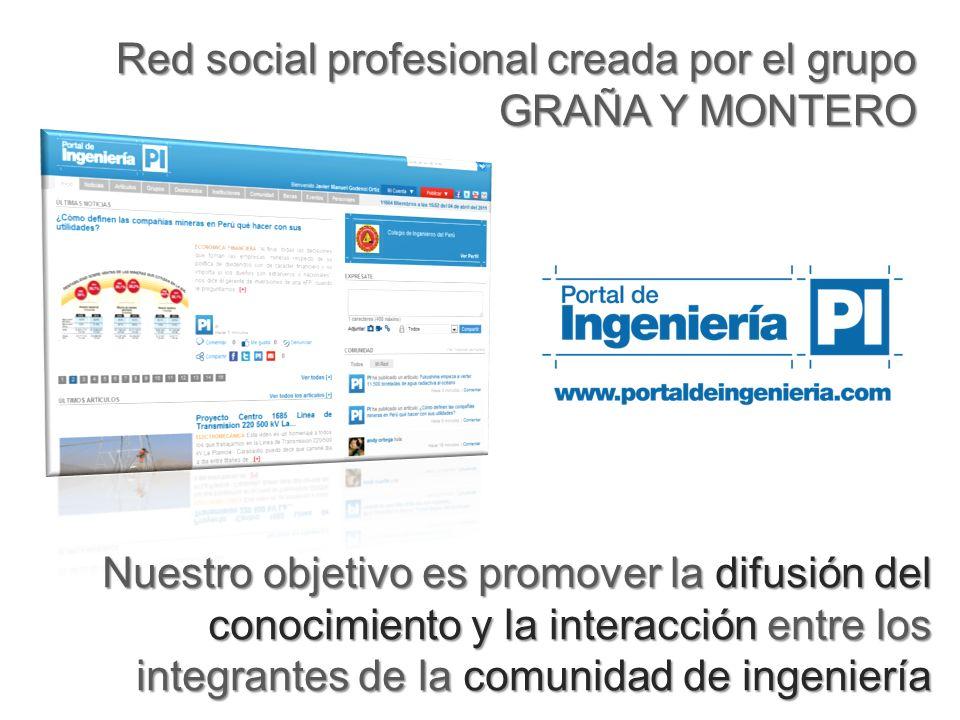 Red social profesional creada por el grupo GRAÑA Y MONTERO Nuestro objetivo es promover la difusión del conocimiento y la interacción entre los integrantes de la comunidad de ingeniería