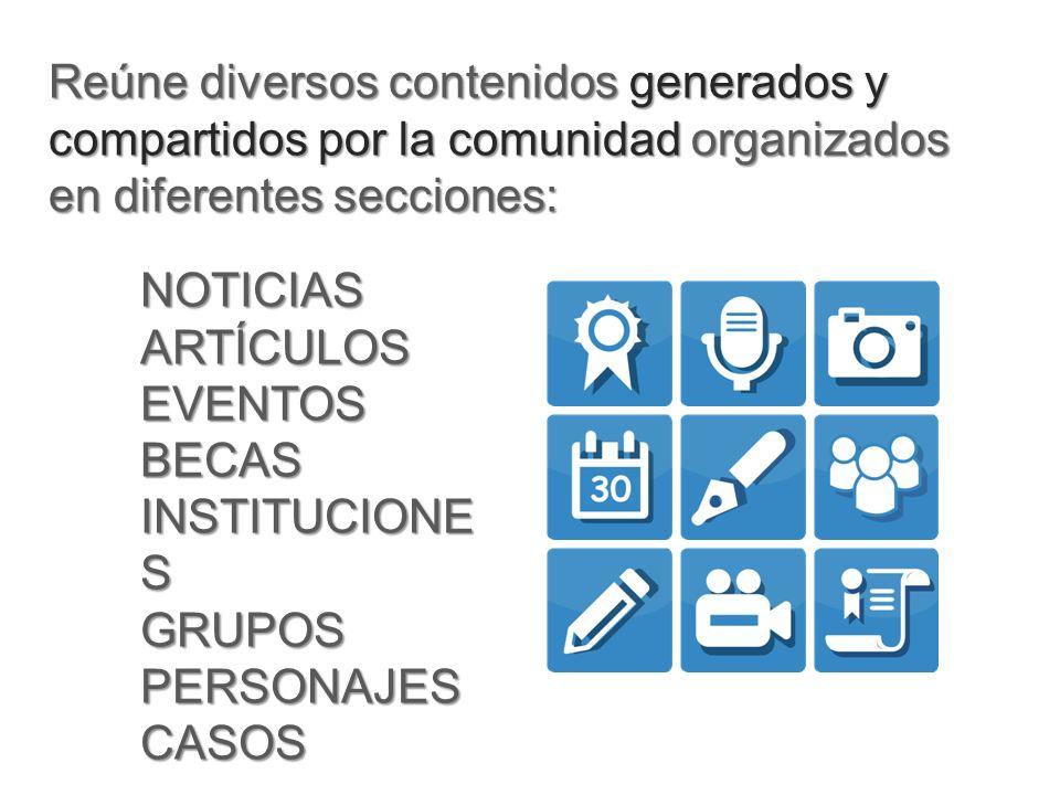 Reúne diversos contenidos generados y compartidos por la comunidad organizados en diferentes secciones: NOTICIASARTÍCULOSEVENTOSBECAS INSTITUCIONE S GRUPOSPERSONAJESCASOS